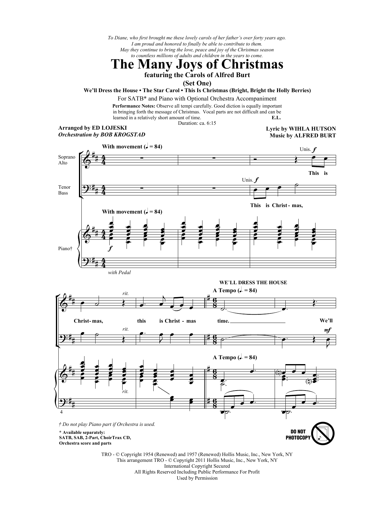Partition chorale The Many Joys Of Christmas (featuring The Carols of Alfred Burt) Set 1 de Alfred Burt - SATB
