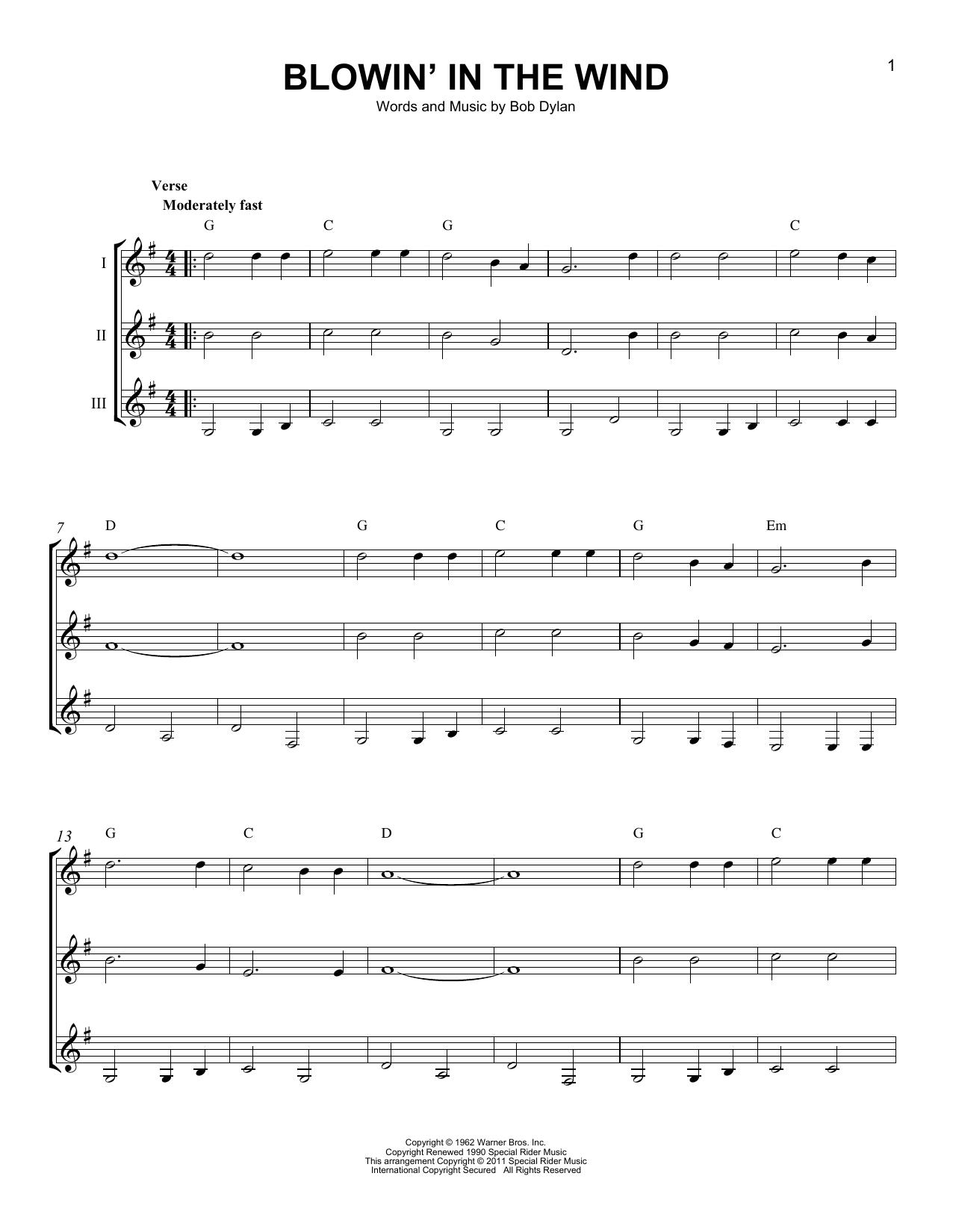 Partition autre Blowin' In The Wind de Bob Dylan - Autre