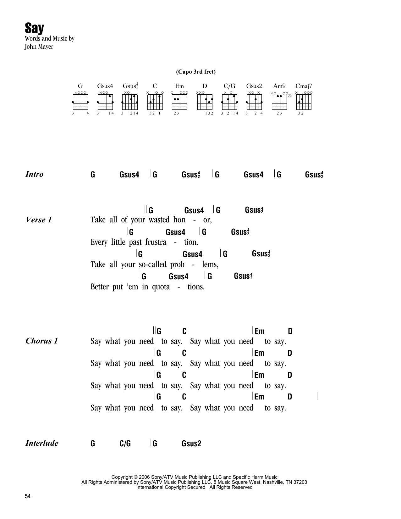 Say sheet music by John Mayer (Lyrics u0026 Chords u2013 162944)