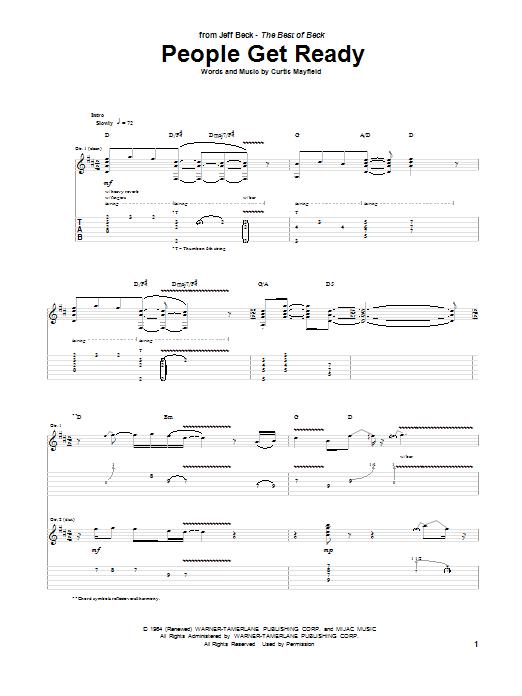 Tablature guitare People Get Ready de Jeff Beck - Tablature Guitare