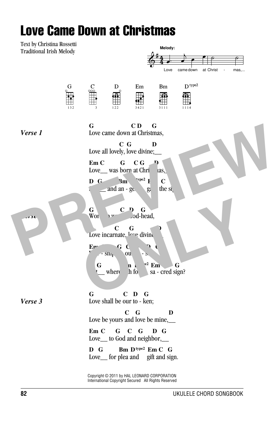 Tablature guitare Love Came Down At Christmas de Christina Rossetti - Ukulele (strumming patterns)