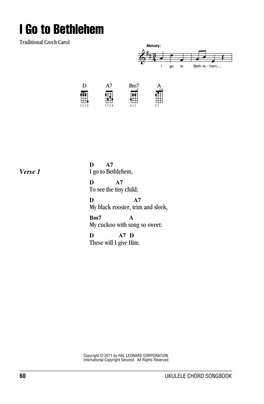 Tablature guitare I Go To Bethlehem de Traditional Carol - Ukulele (strumming patterns)