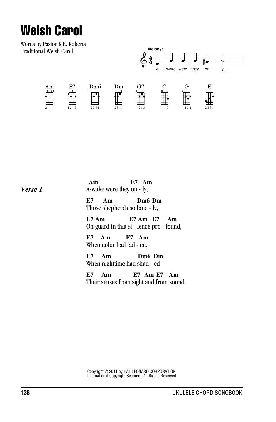 Tablature guitare Welsh Carol de Traditional - Ukulele (strumming patterns)