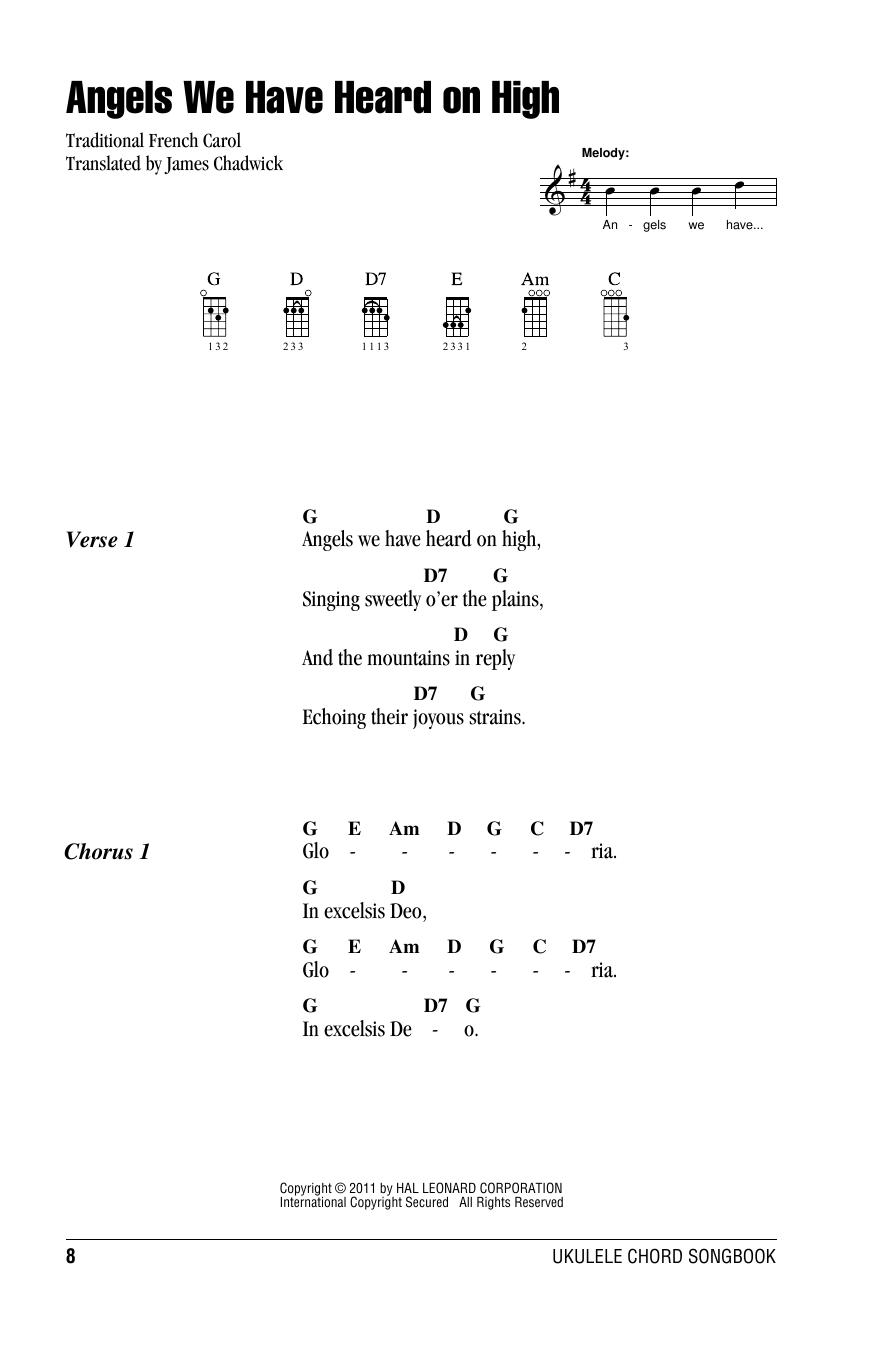 Tablature guitare Angels We Have Heard On High de James Chadwick - Ukulele (strumming patterns)