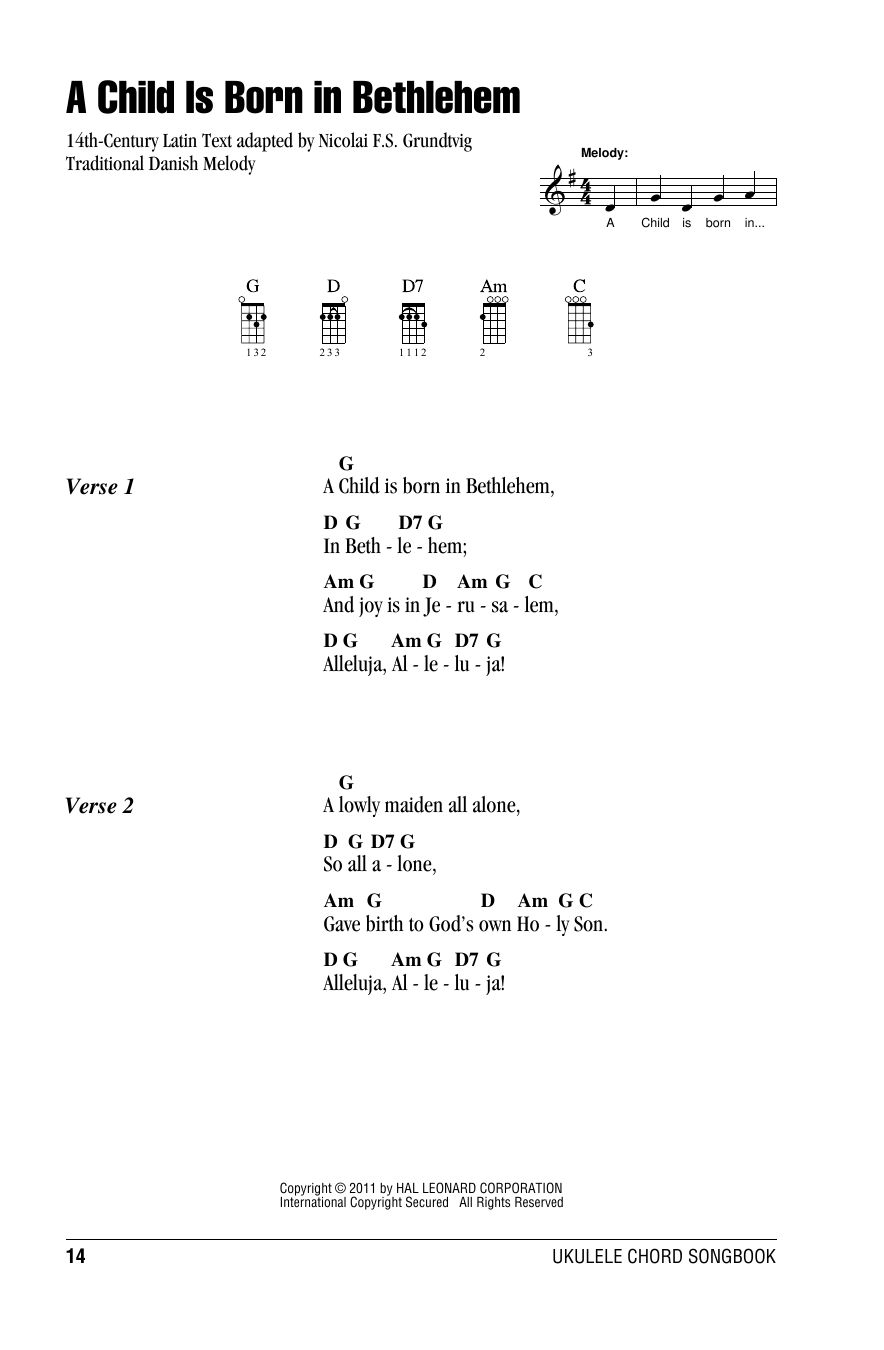 Tablature guitare A Child Is Born In Bethlehem de Nicolai F.S. Grundtvig - Ukulele (strumming patterns)