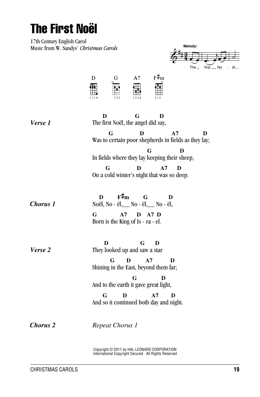 Tablature guitare The First Noel de W. Sandys' Christmas Carols - Ukulele (strumming patterns)