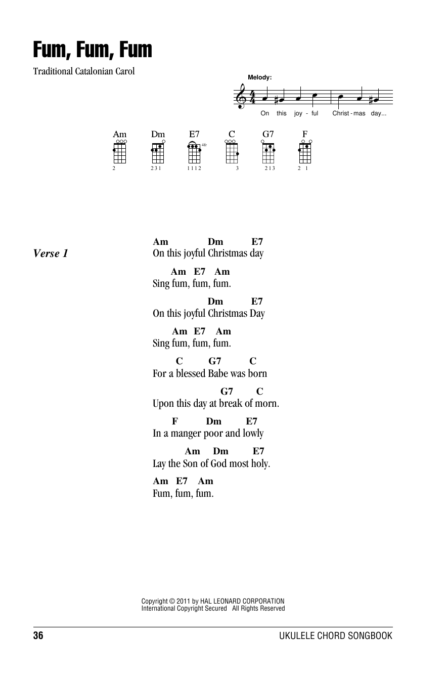 Tablature guitare Fum, Fum, Fum de Traditional Carol - Ukulele (strumming patterns)