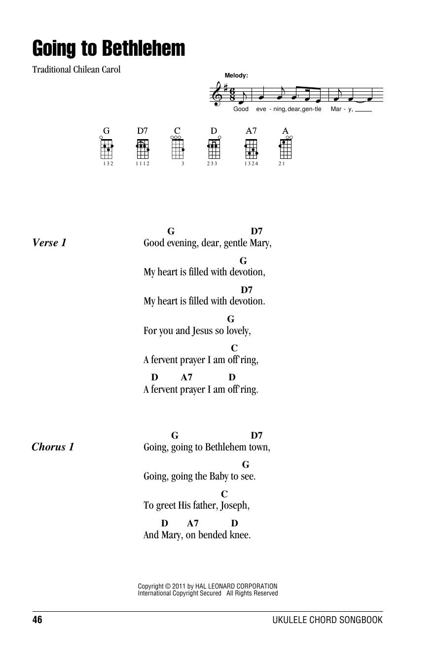 Tablature guitare Going To Bethlehem de Traditional Carol - Ukulele (strumming patterns)