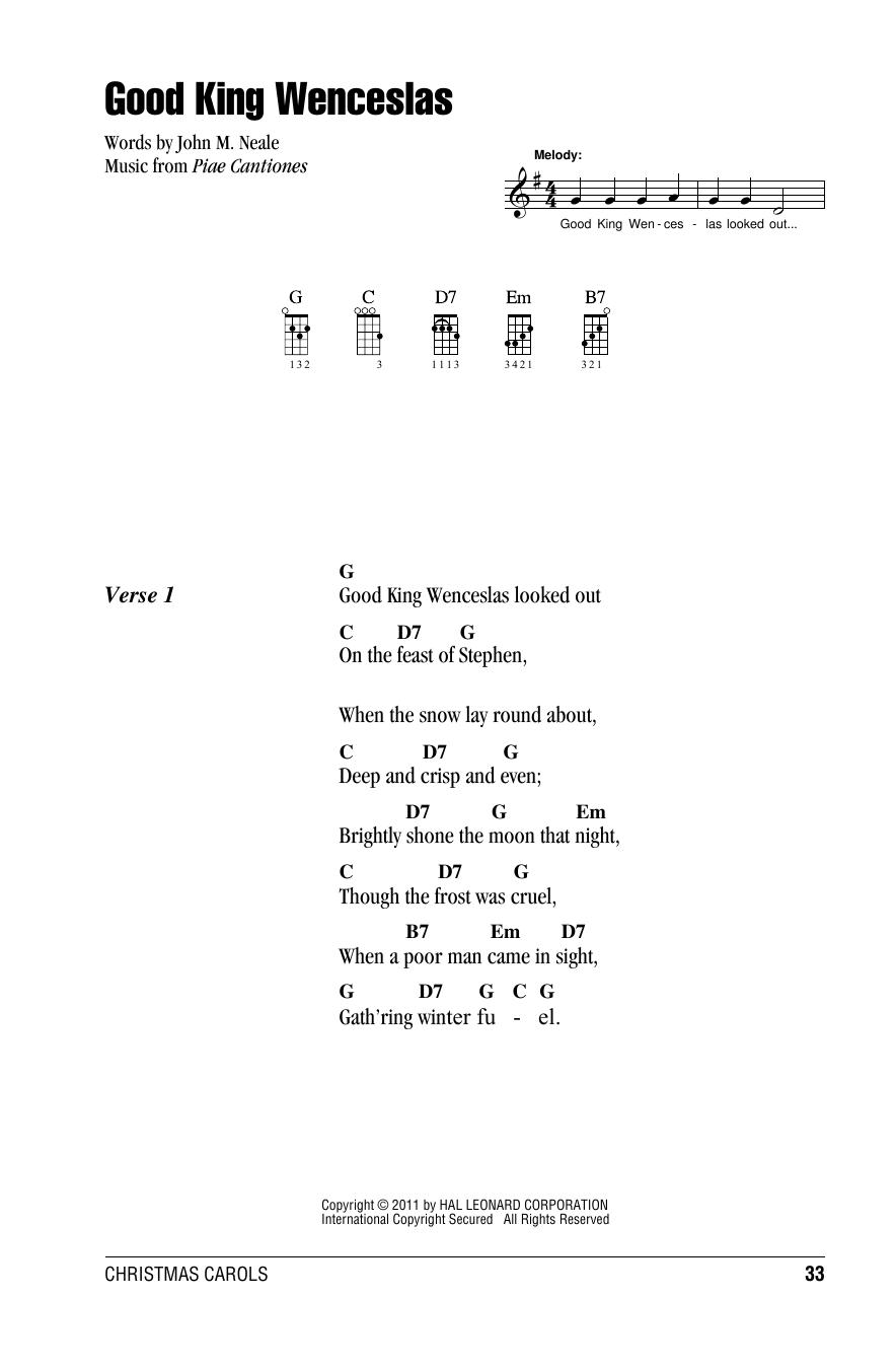 Tablature guitare Good King Wenceslas de Christmas Carol - Ukulele (strumming patterns)