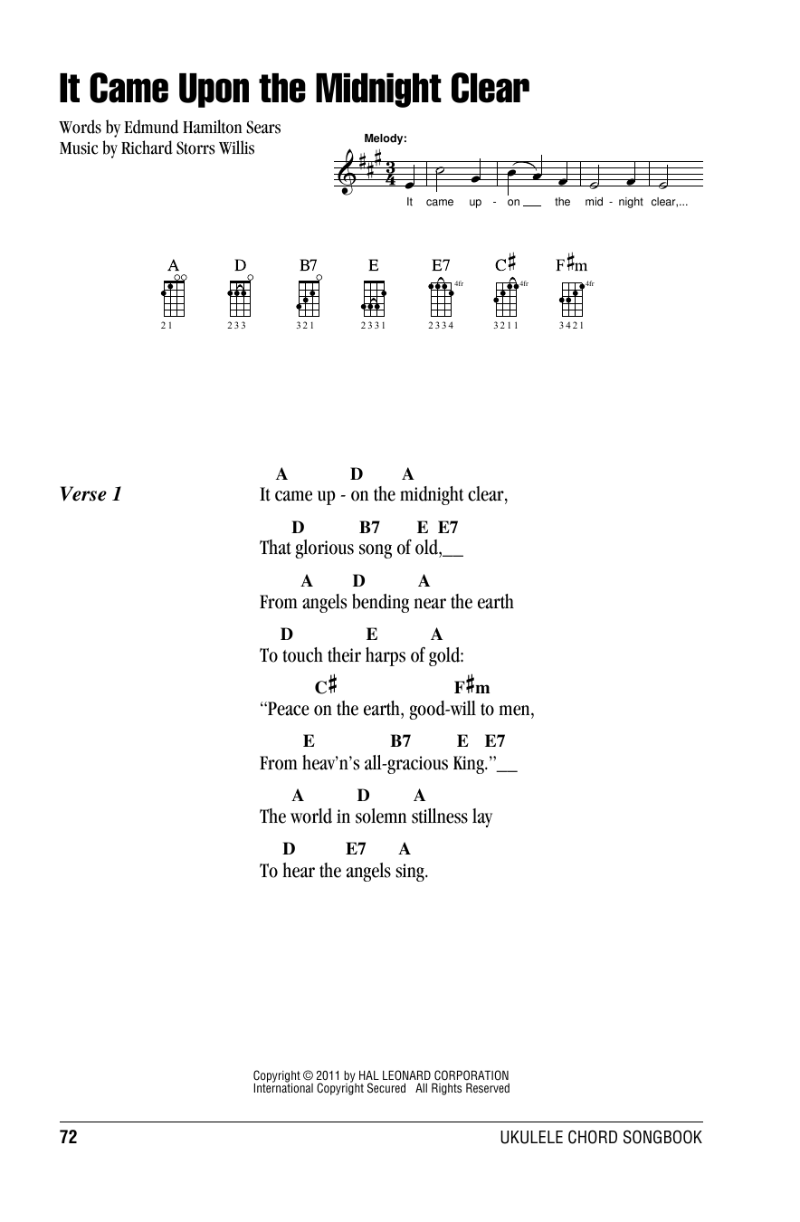 Tablature guitare It Came Upon The Midnight Clear de Edmund Hamilton Sears - Ukulele (strumming patterns)