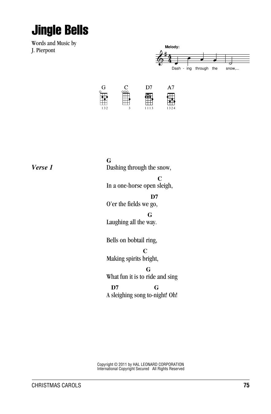 Tablature guitare Jingle Bells de J. Pierpont - Ukulele (strumming patterns)