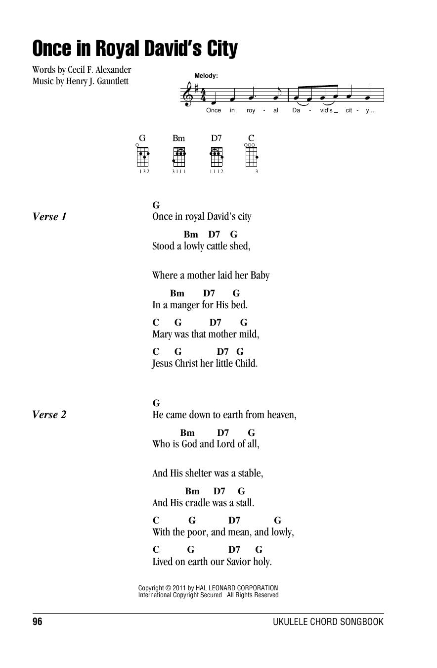 Tablature guitare Once In Royal David's City de Christmas Carol - Ukulele (strumming patterns)