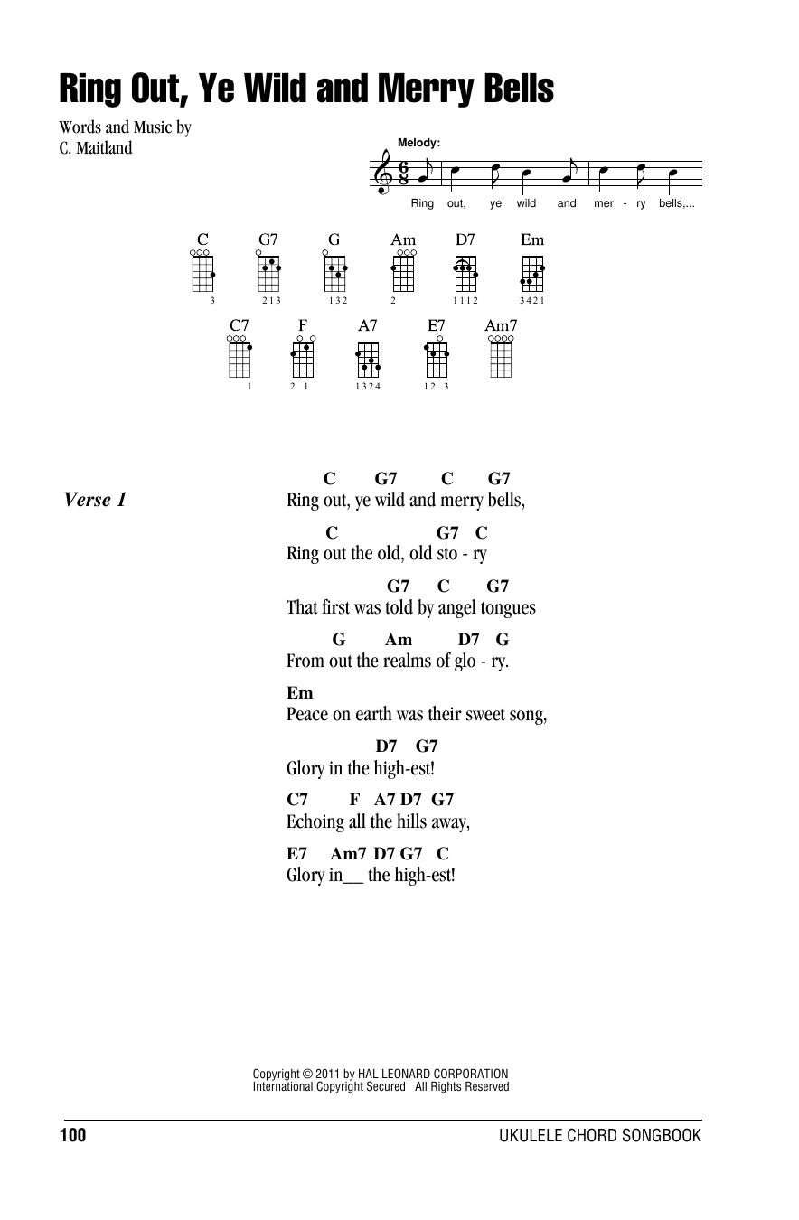 Tablature guitare Ring Out, Ye Wild And Merry Bells de C. Maitland - Ukulele (strumming patterns)