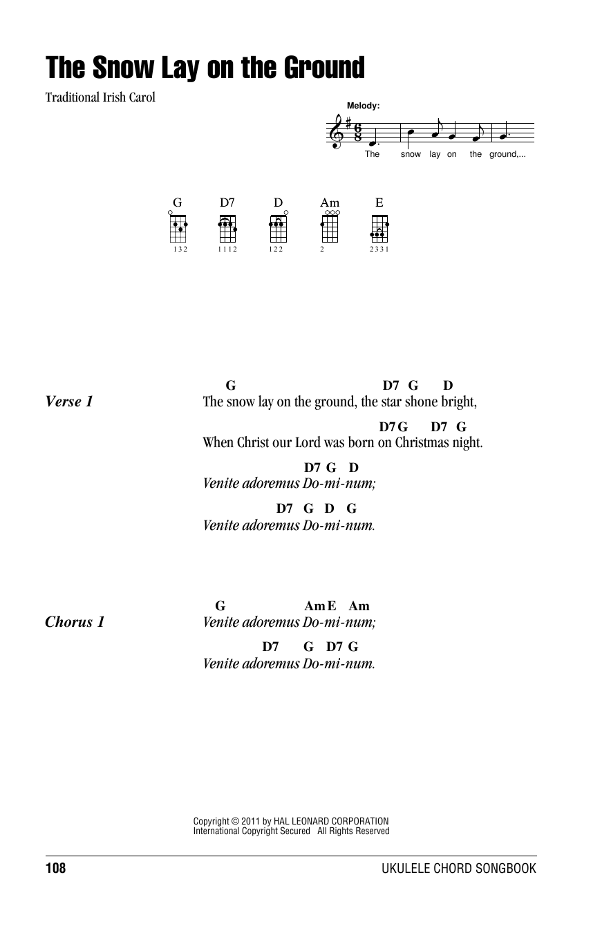 Tablature guitare The Snow Lay On The Ground de Traditional Carol - Ukulele (strumming patterns)