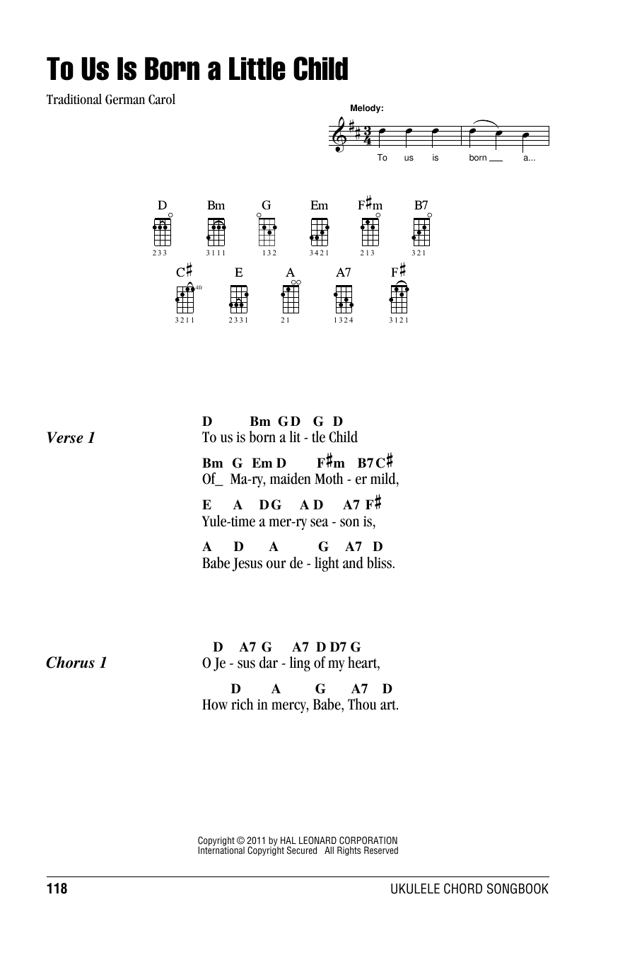 Tablature guitare To Us Is Born A Little Child de Traditional German Carol - Ukulele (strumming patterns)
