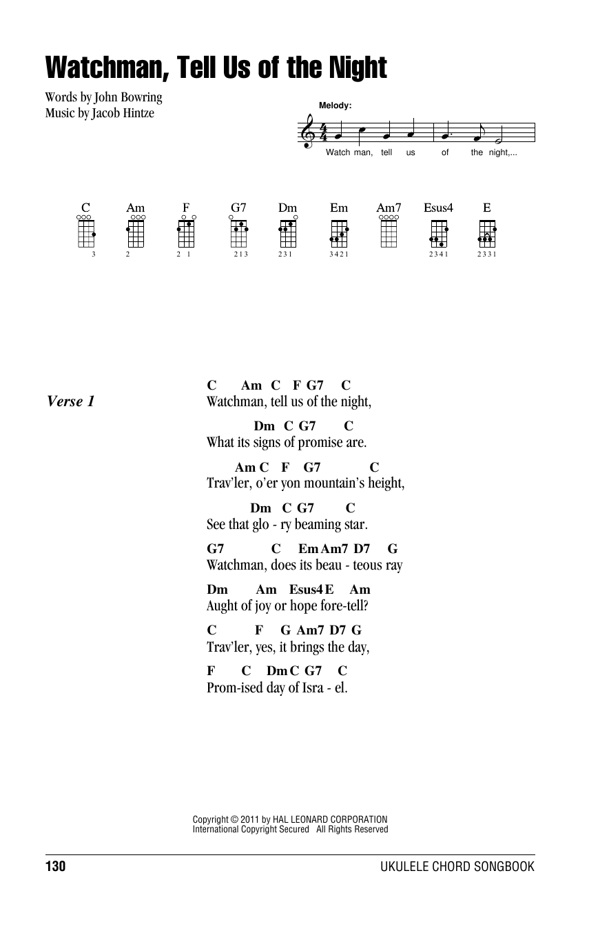 Tablature guitare Watchman, Tell Us Of The Night de Jacob Hintze - Ukulele (strumming patterns)
