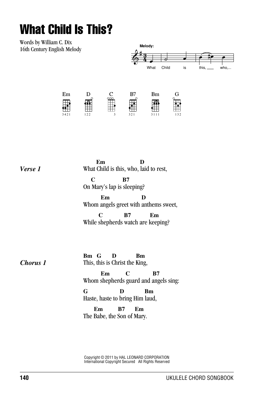 Tablature guitare What Child Is This? de William C. Dix - Ukulele (strumming patterns)