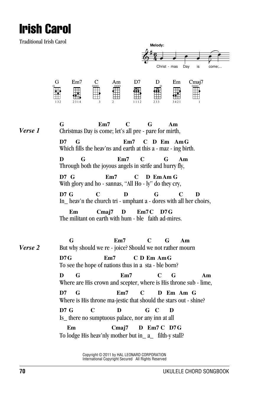 Tablature guitare Irish Carol de Traditional - Ukulele (strumming patterns)