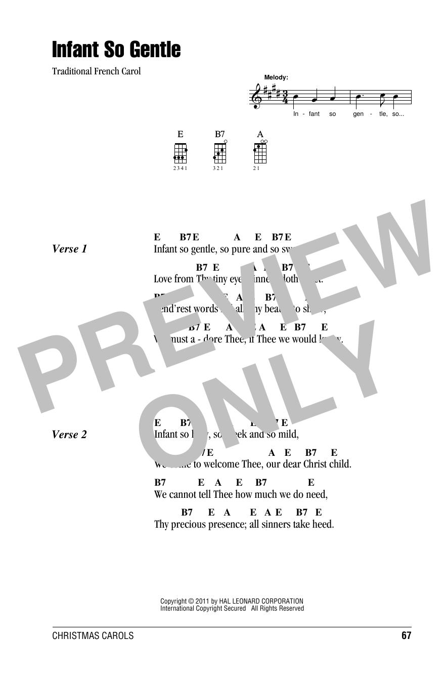 Tablature guitare Infant So Gentle de Traditional French Carol - Ukulele (strumming patterns)