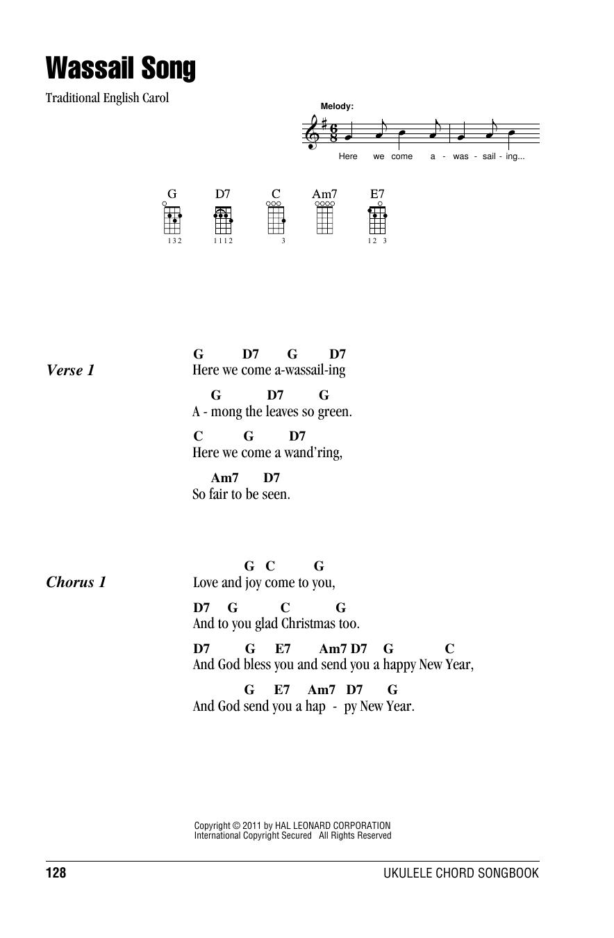 Tablature guitare Wassail Song de Traditional English Carol - Ukulele (strumming patterns)
