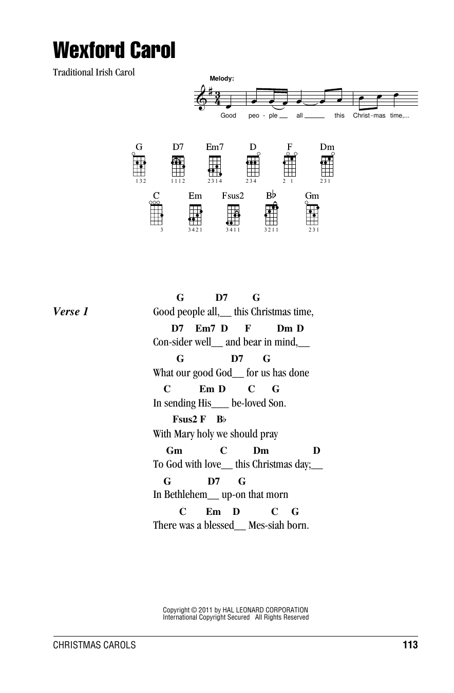 Tablature guitare Wexford Carol de Traditional Carol - Ukulele (strumming patterns)