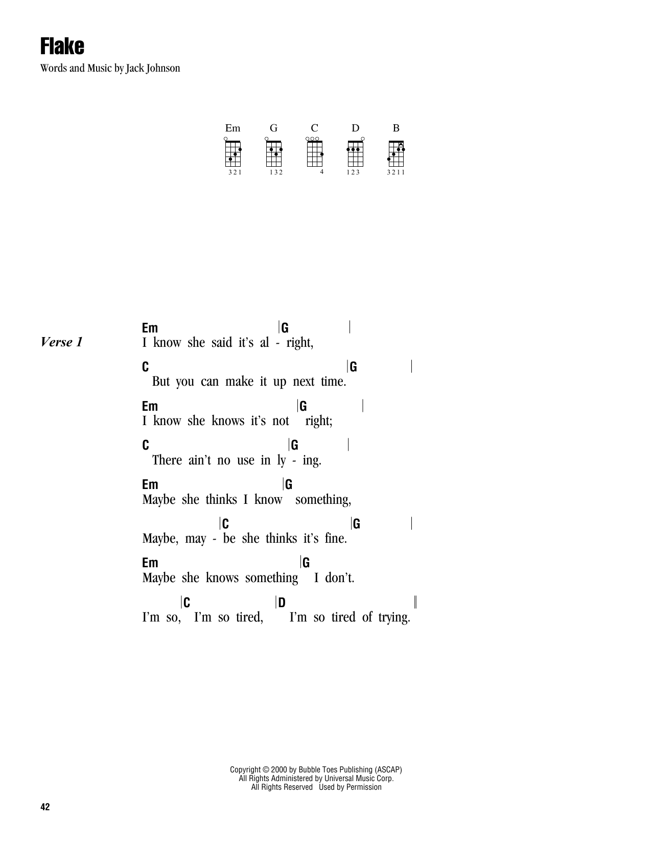Tablature guitare Flake de Jack Johnson - Ukulele (strumming patterns)