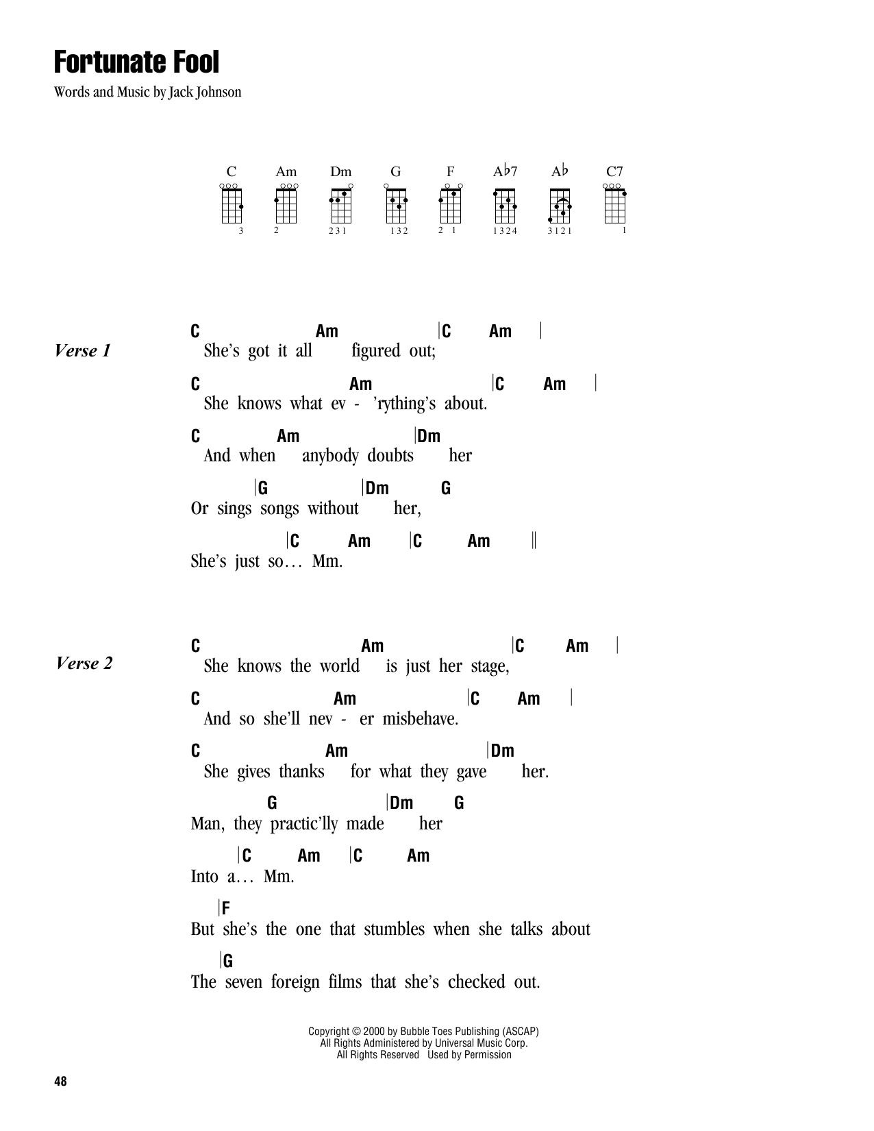 Tablature guitare Fortunate Fool de Jack Johnson - Ukulele (strumming patterns)