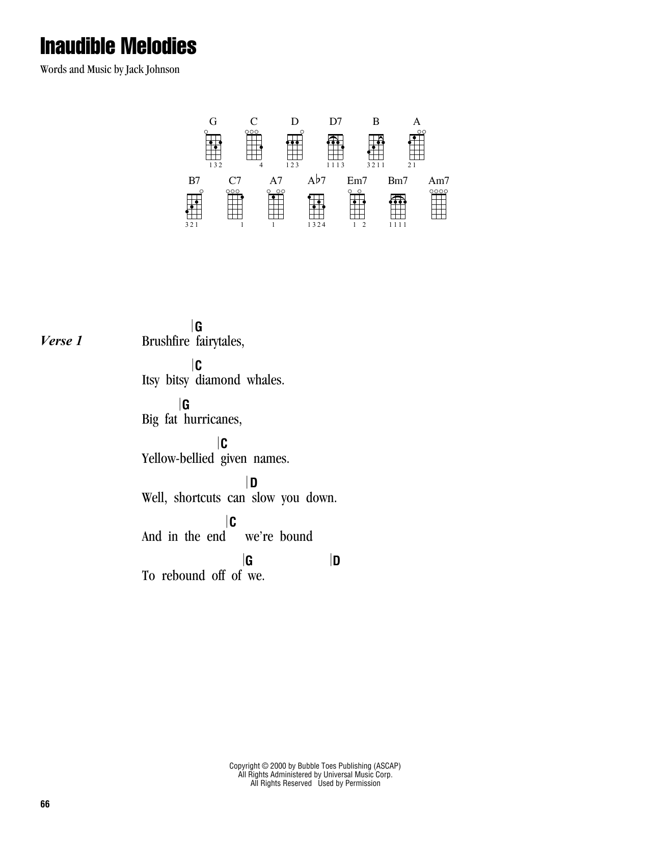 Tablature guitare Inaudible Melodies de Jack Johnson - Ukulele (strumming patterns)