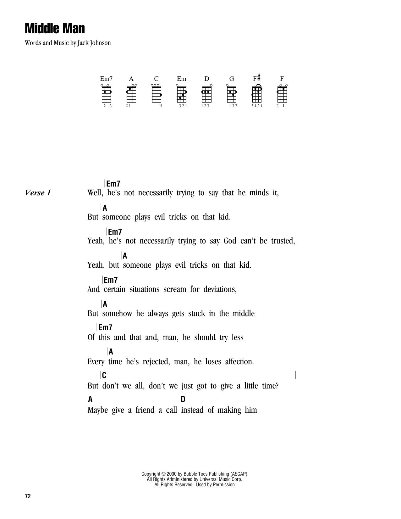 Tablature guitare Middle Man de Jack Johnson - Ukulele (strumming patterns)
