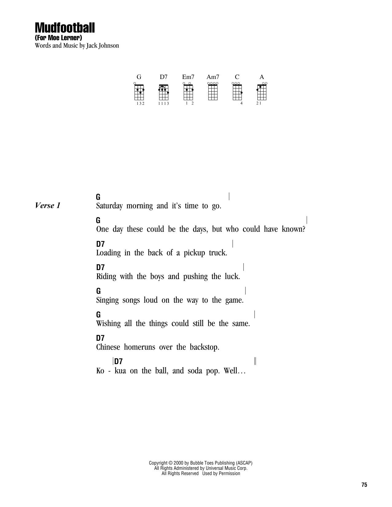 Tablature guitare Mudfootball (For Moe Lerner) de Jack Johnson - Ukulele (strumming patterns)