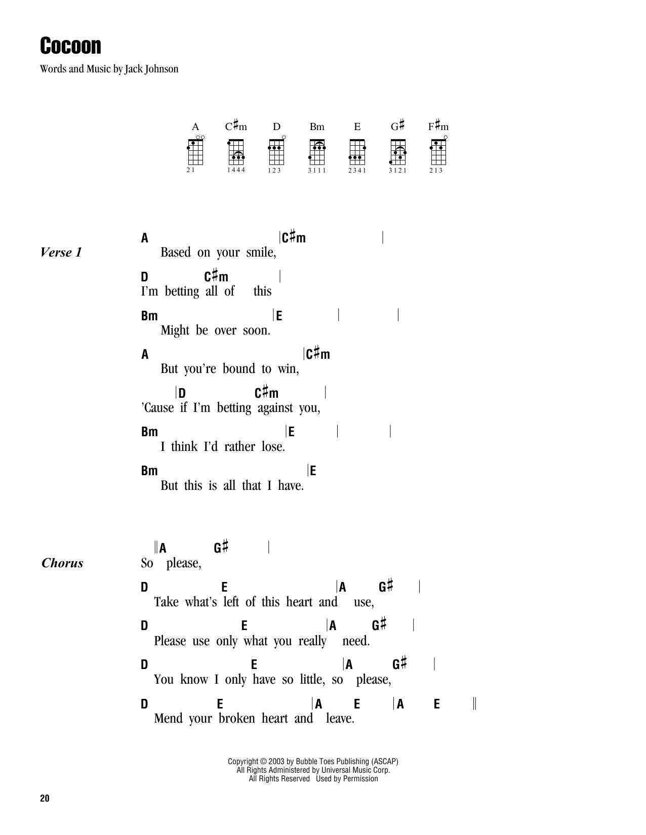 Tablature guitare Cocoon de Jack Johnson - Ukulele (strumming patterns)