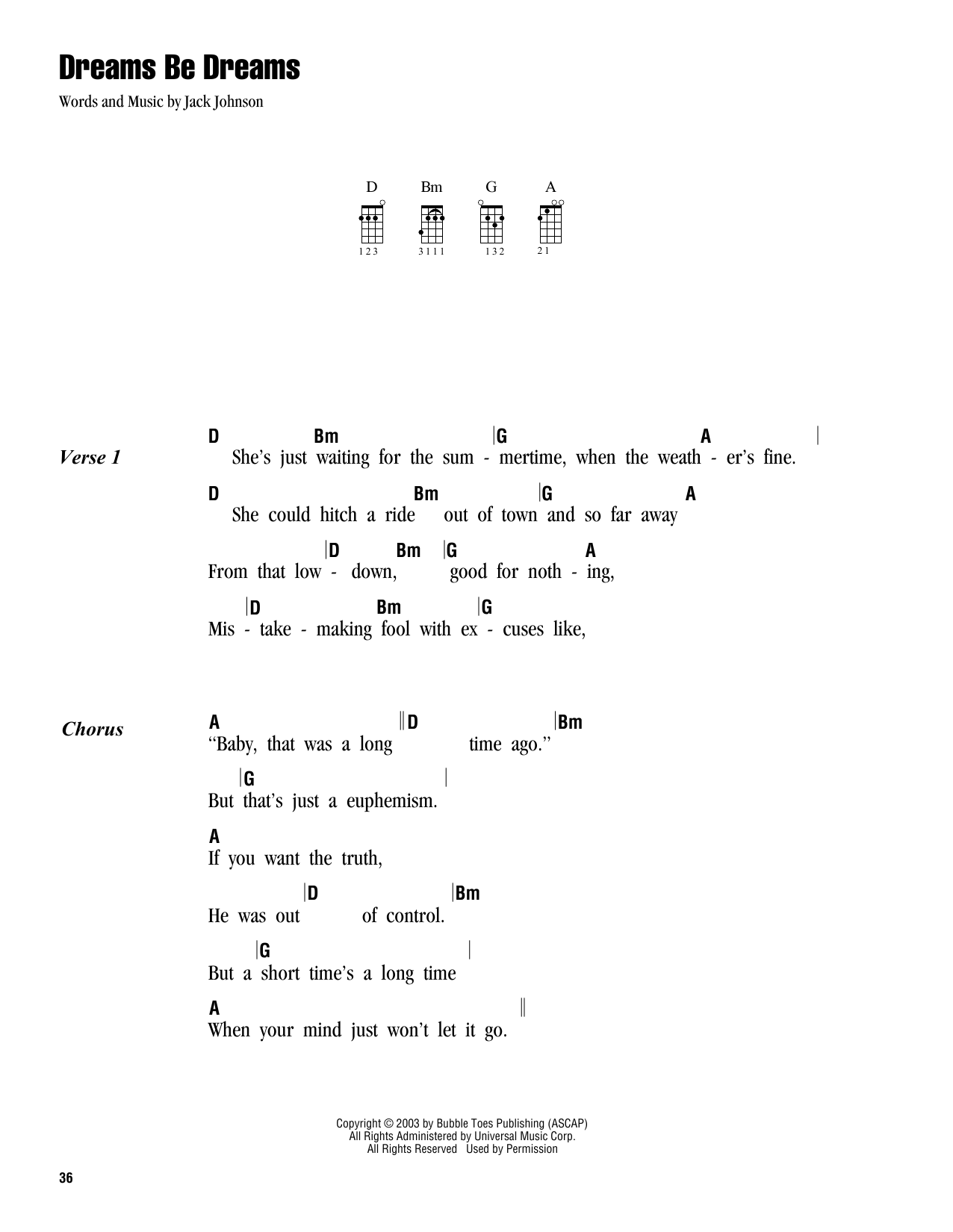 Tablature guitare Dreams Be Dreams de Jack Johnson - Ukulele (strumming patterns)