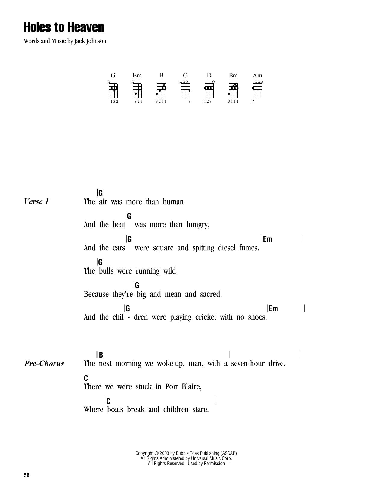 Tablature guitare Holes To Heaven de Jack Johnson - Ukulele (strumming patterns)