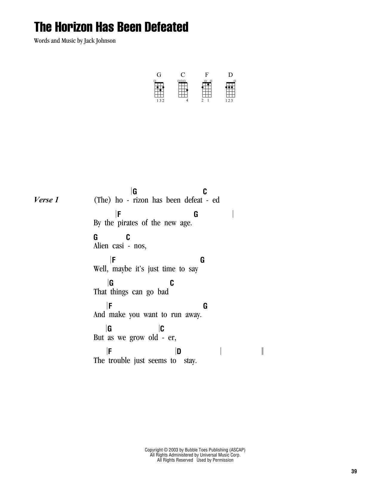 Tablature guitare The Horizon Has Been Defeated de Jack Johnson - Ukulele (strumming patterns)