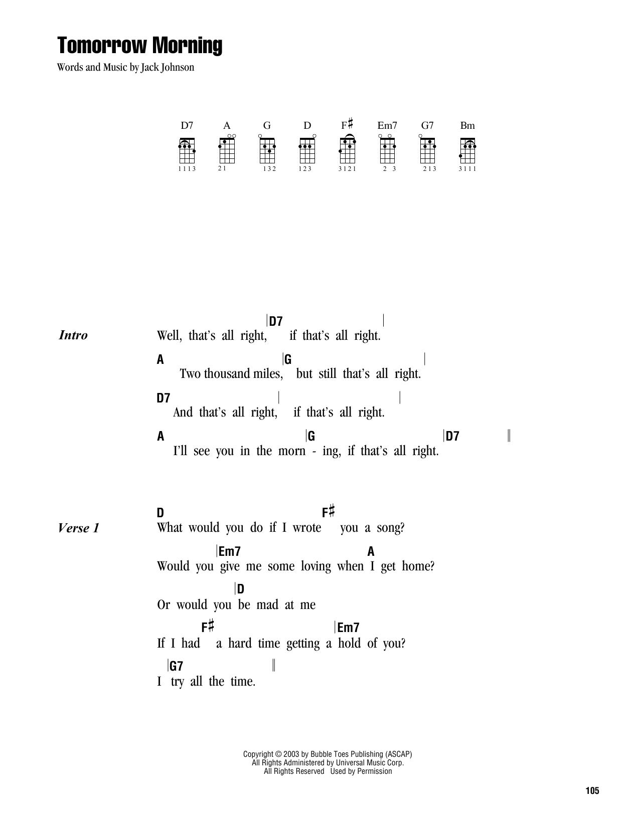 Tablature guitare Tomorrow Morning de Jack Johnson - Ukulele (strumming patterns)