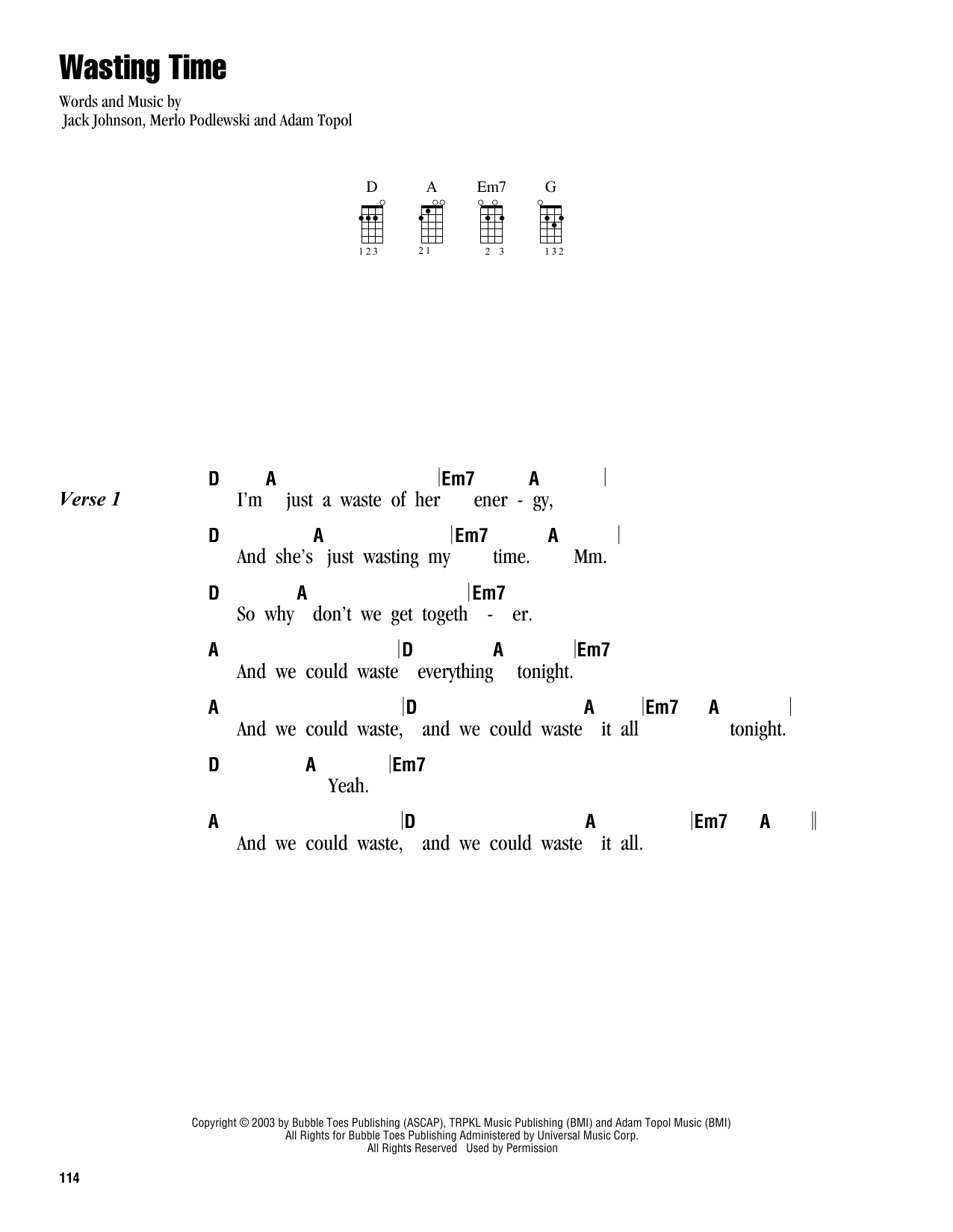 Tablature guitare Wasting Time de Jack Johnson - Ukulele (strumming patterns)