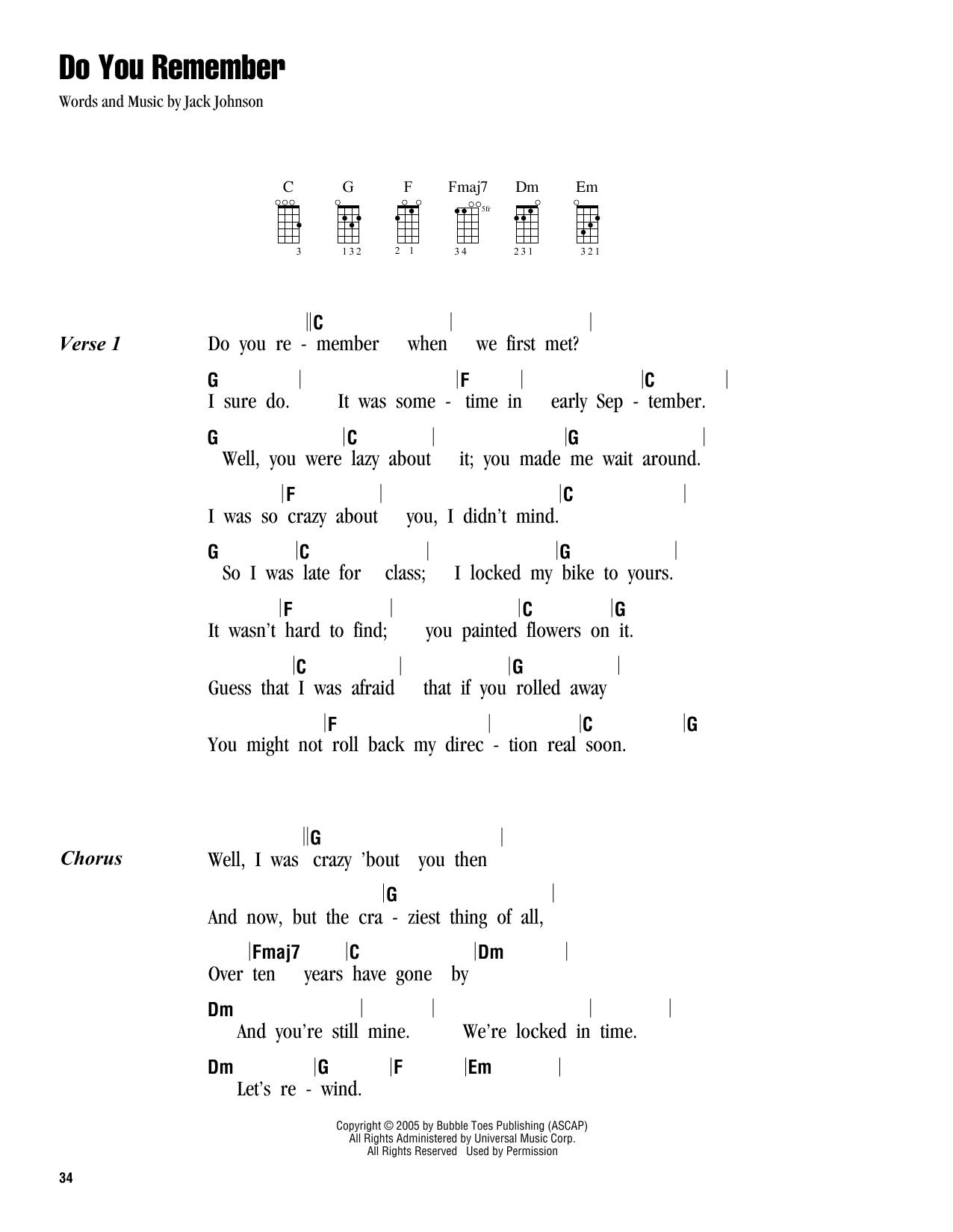 Tablature guitare Do You Remember de Jack Johnson - Ukulele (strumming patterns)