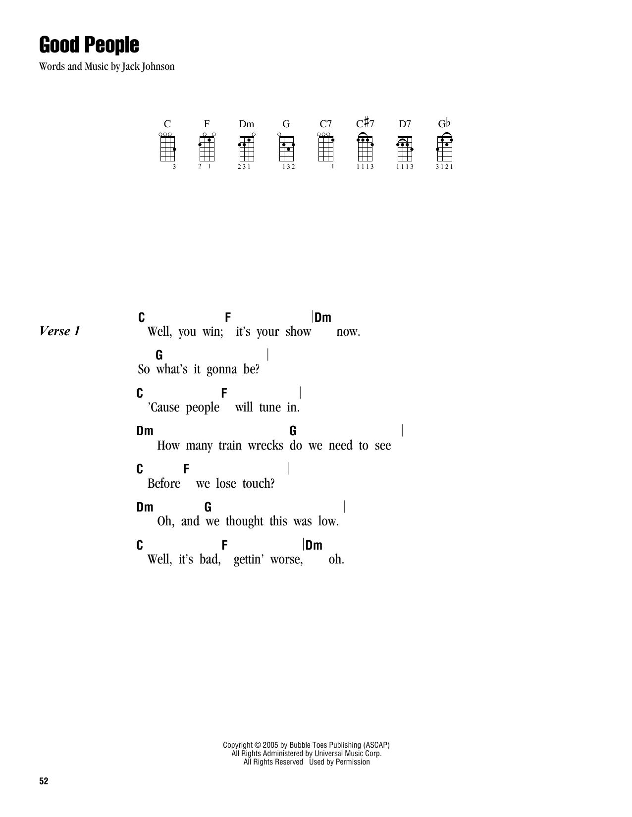 Tablature guitare Good People de Jack Johnson - Ukulele (strumming patterns)