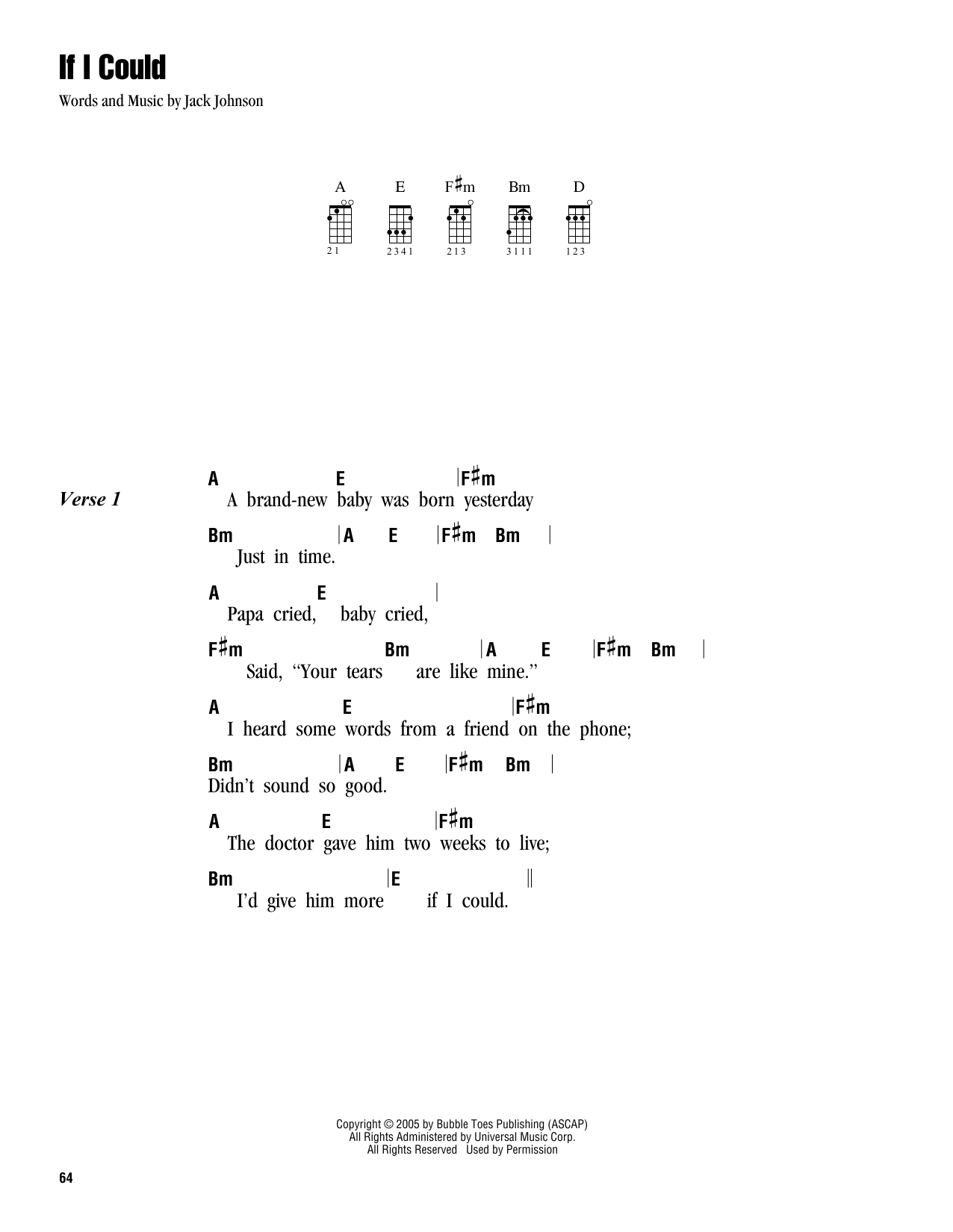 Tablature guitare If I Could de Jack Johnson - Ukulele (strumming patterns)