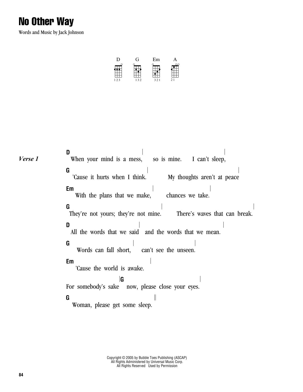 Tablature guitare No Other Way de Jack Johnson - Ukulele (strumming patterns)