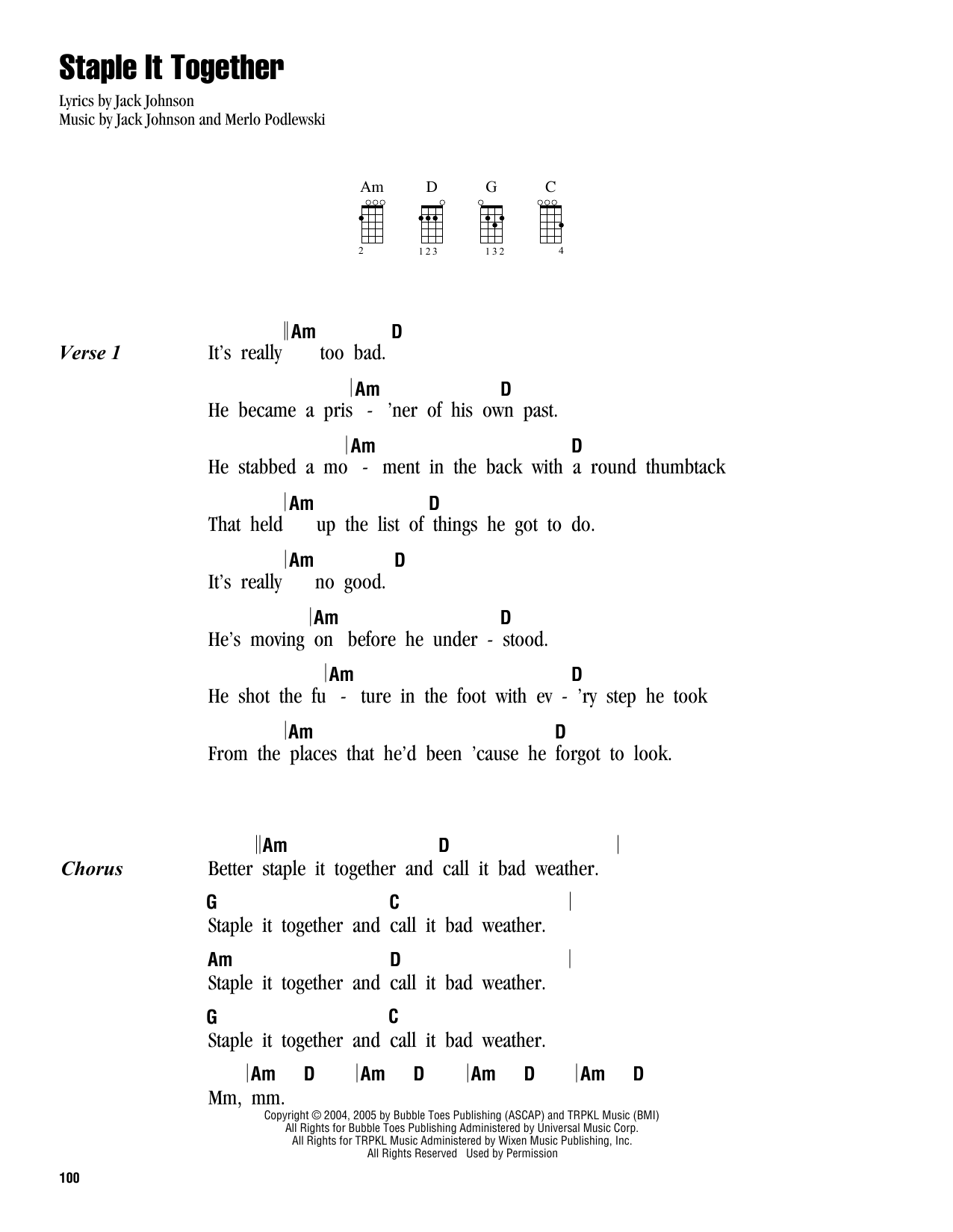 Tablature guitare Staple It Together de Jack Johnson - Ukulele (strumming patterns)