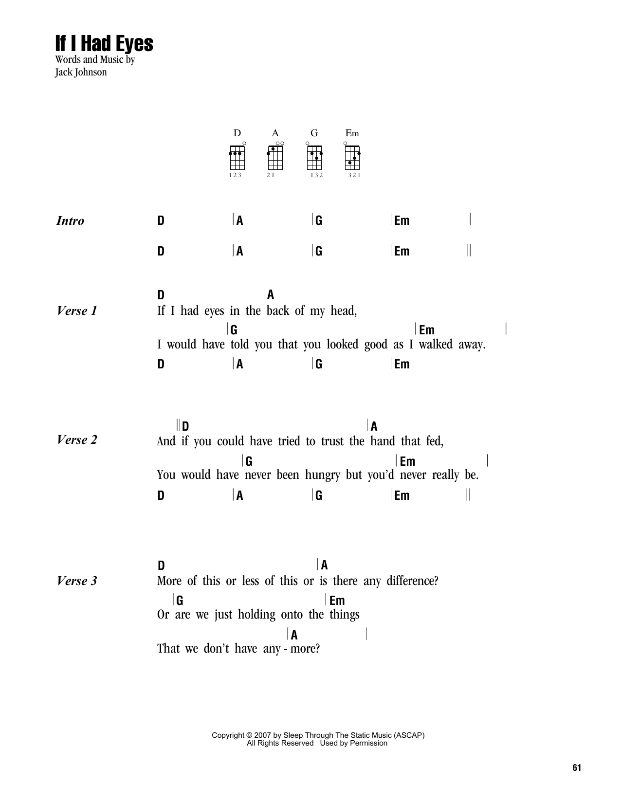 Tablature guitare If I Had Eyes de Jack Johnson - Ukulele (strumming patterns)
