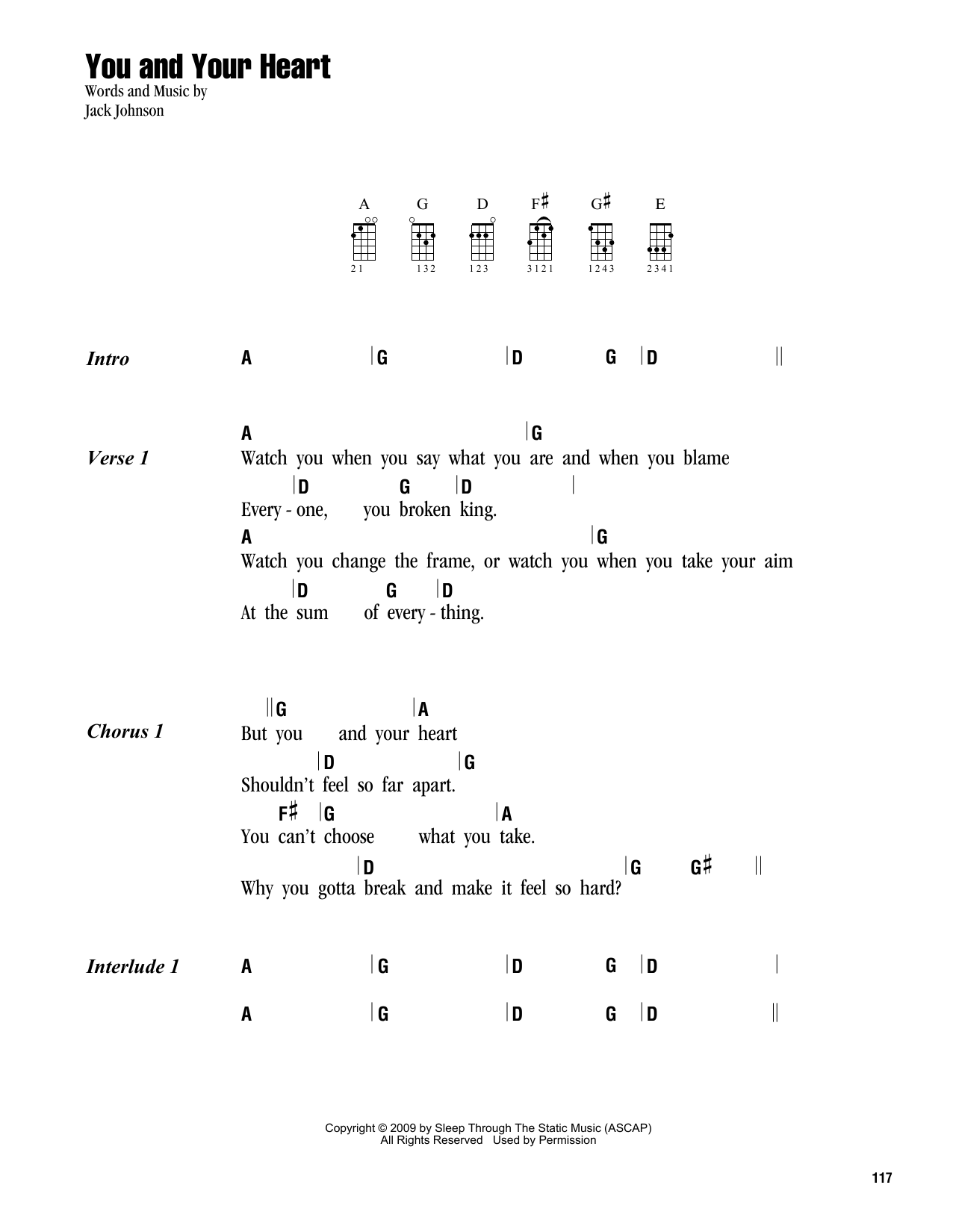 Tablature guitare You And Your Heart de Jack Johnson - Ukulele (strumming patterns)
