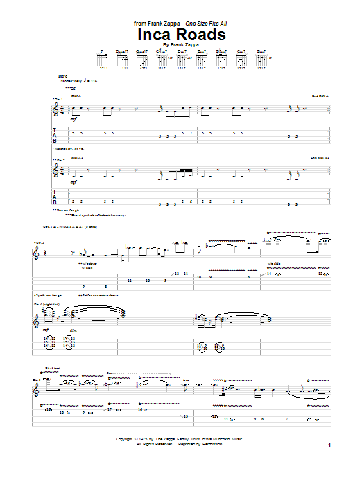 Inca Roads Guitar Tab by Frank Zappa Guitar Tab 150260 : HLDDS798740e631dx8Bbe from www.sheetmusicdirect.com size 522 x 696 png 31kB