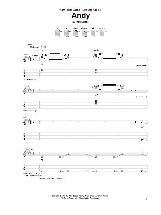 Tablature guitare Andy de Frank Zappa - Tablature Guitare