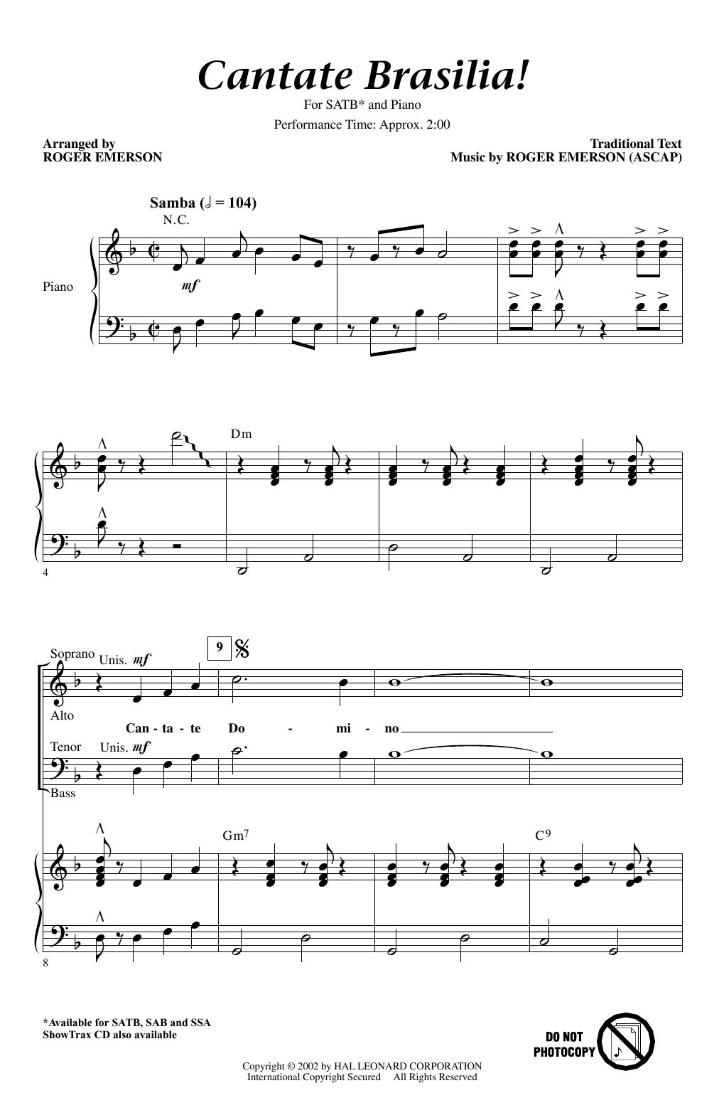 Partition chorale Cantate Brasilia de Roger Emerson - SATB