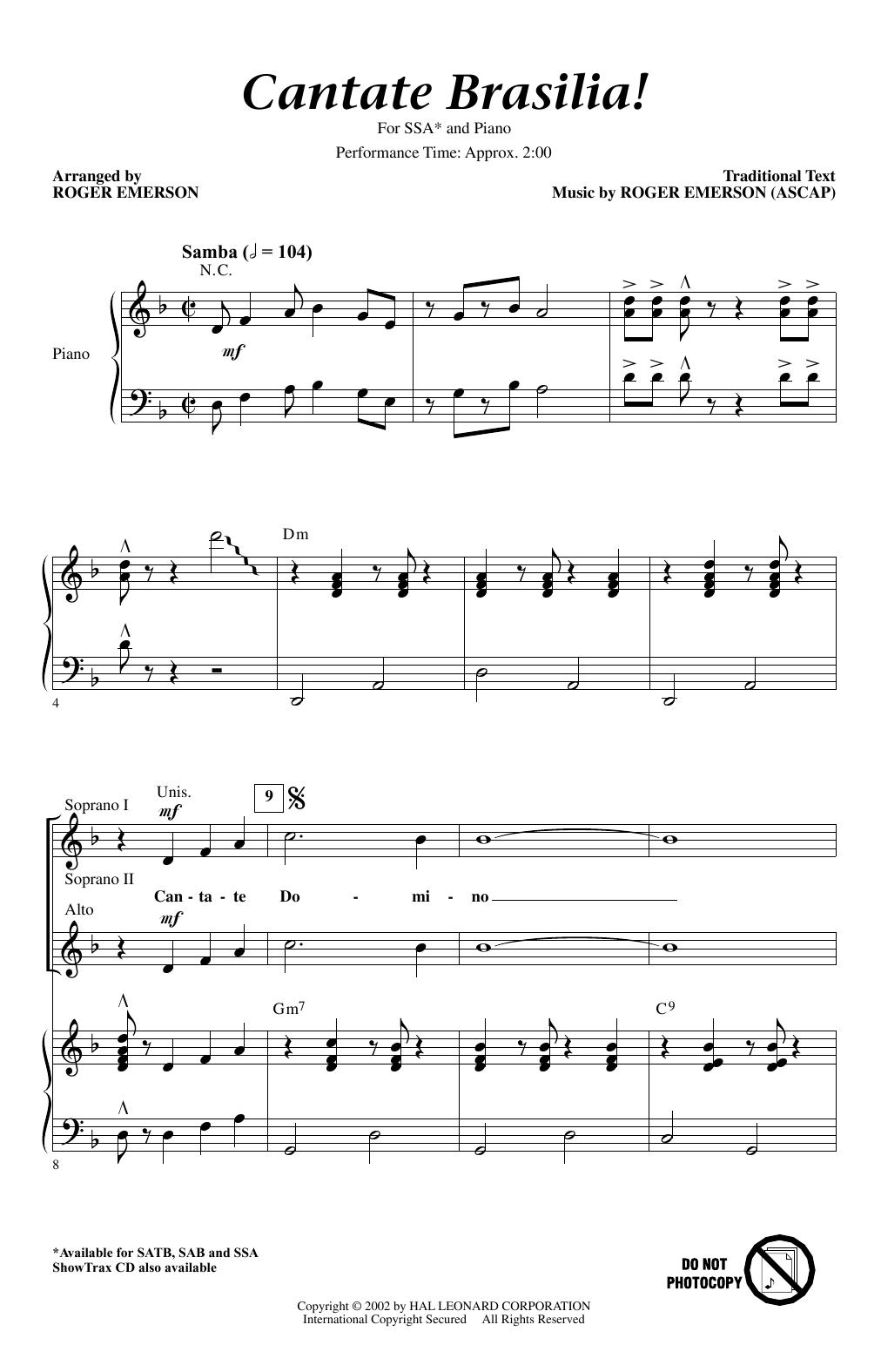 Partition chorale Cantate Brasilia de Roger Emerson - SSA