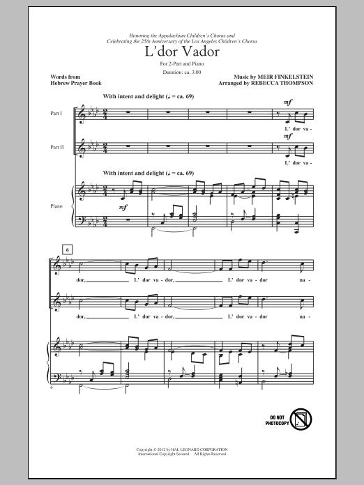 Partition chorale L'Dor Vador (arr. Rebecca Thompson) de Meir Finkelstein - 2 voix