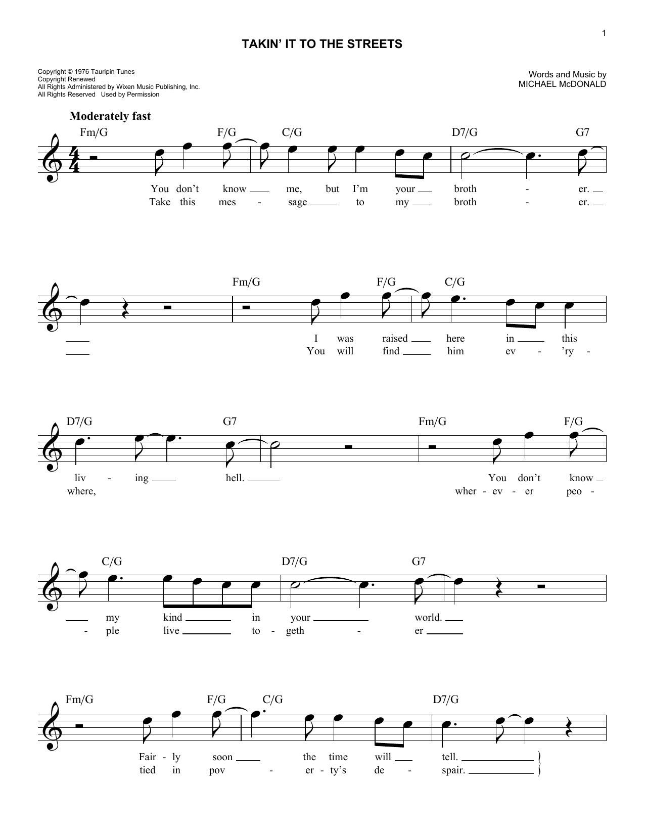 Sheet music digital files to print licensed the doobie brothers takin it to the streets hexwebz Choice Image