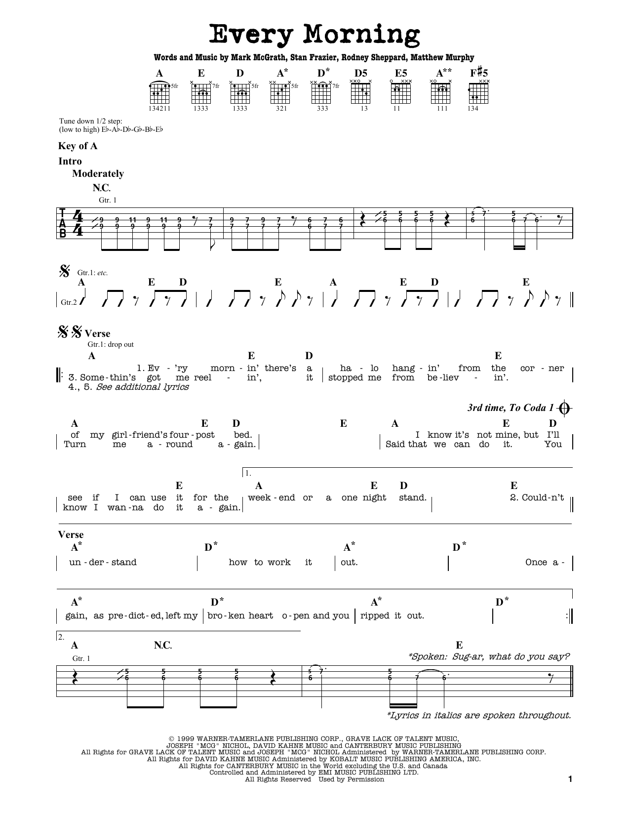Partition autre Every Morning de Sugar Ray - Tablature Guitare Lead